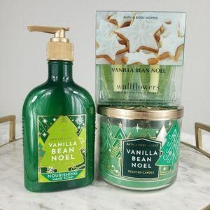 Bath and Body Vanilla Bean Noel candle soap bundle